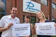 Glenn Roberts, Pam Johnson and Charlotte Gurney celebrate World Refrigeration Day outside of Parasense's offices in Gloucester, UK.