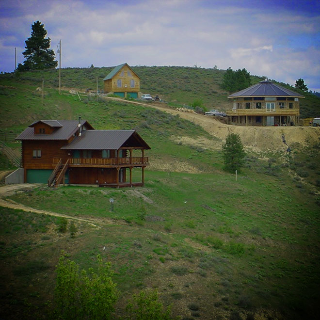 Houses on a hill with defensible space