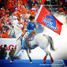 BSU Bronco Girl Chelsie and her Horse Willie