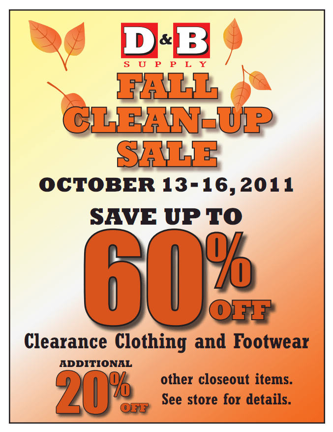 Fall Clean Up Sale Information