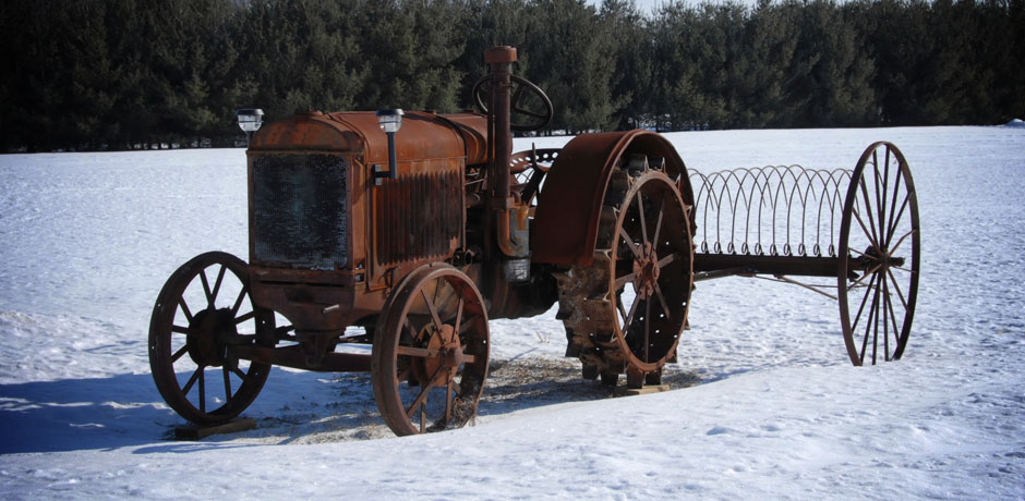 Rusty Tractor in Snow