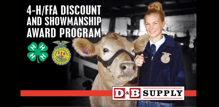 4-H & FFA DIscount Prgoram at D&B Supply FFA girl with brown cow