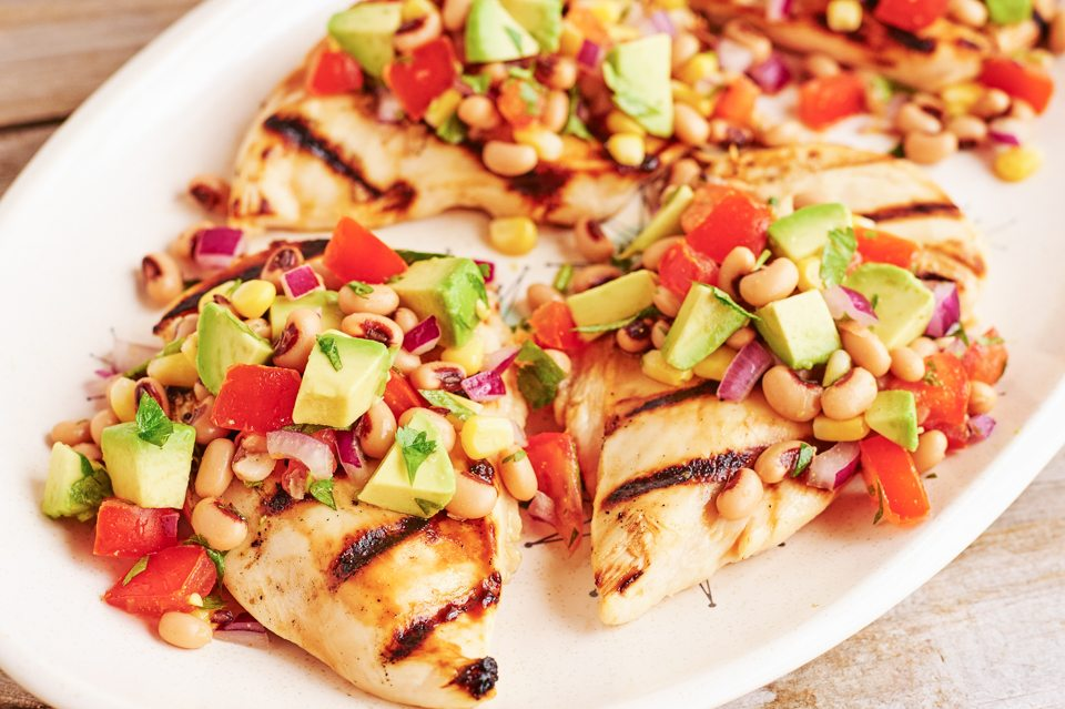 Grilled Honey Lime Chicken with Cowboy Caviar