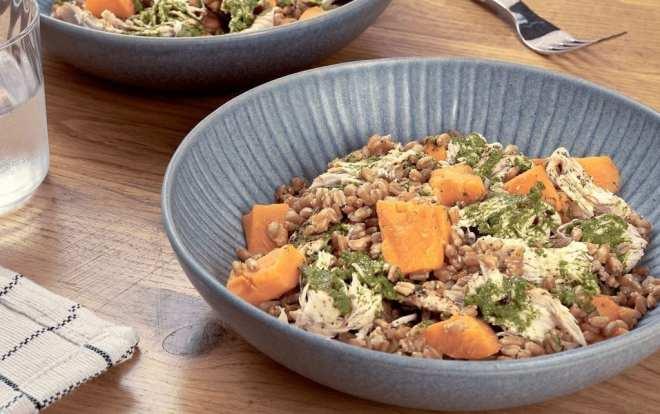 Chicken and Sweet Potato Farro Bowl