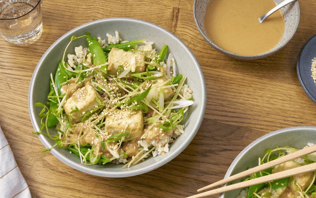 Crispy Tofu Bowl With Snap Pea-Miso Salad
