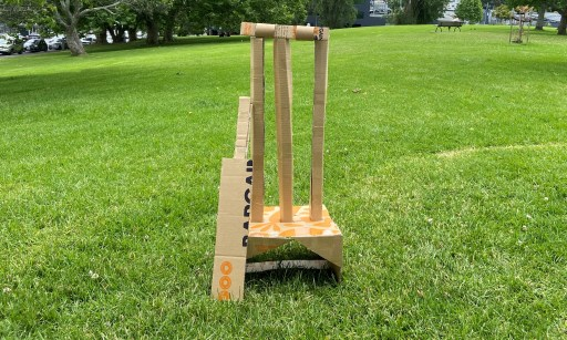 Cricket wickets made from a Bargain Box.