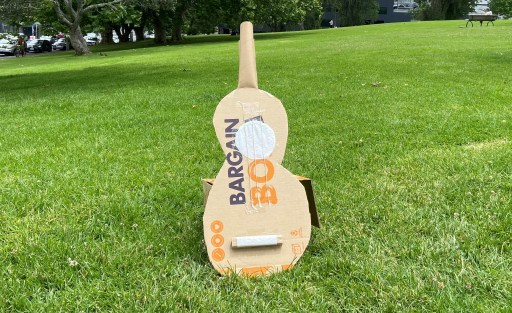 A guitar example made from a Bargain Box.