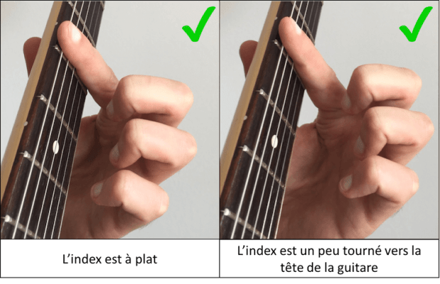 position de l'index pour faire des accords barrés à la guitare