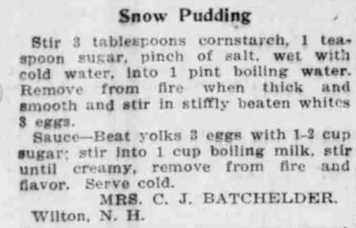 Recipe from The Boston Post, December 4, 1921. Courtesy of the Massachusetts Newspapers, 1704-1974 collection on MyHeritage