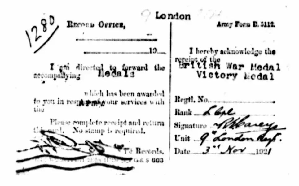 Record indicating that Richard Edward Carey, Chris's great- grandfather received the British War Medal, the 1915 Star, and the Victory Medal