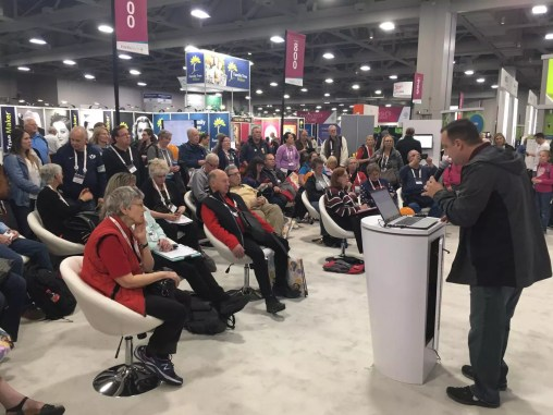 Geoff Rasmussen speaking at the MyHeritage Booth