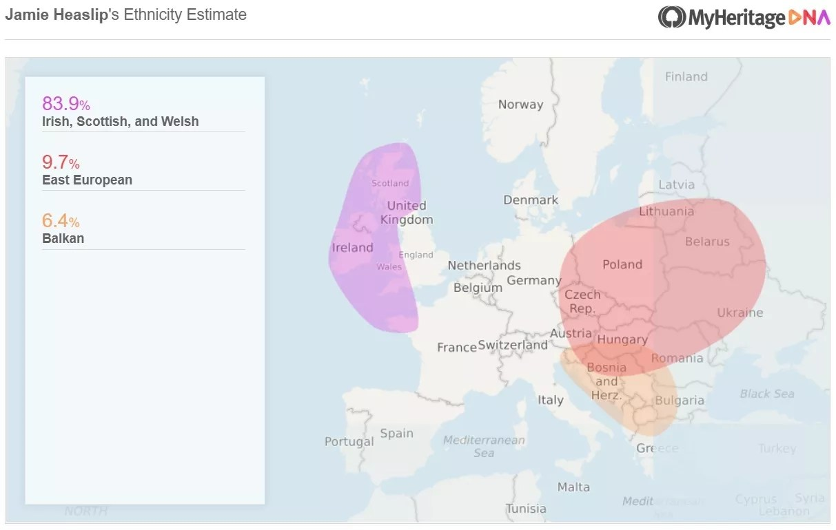 Jamie's ethnicity breakdown with MyHeritage DNA