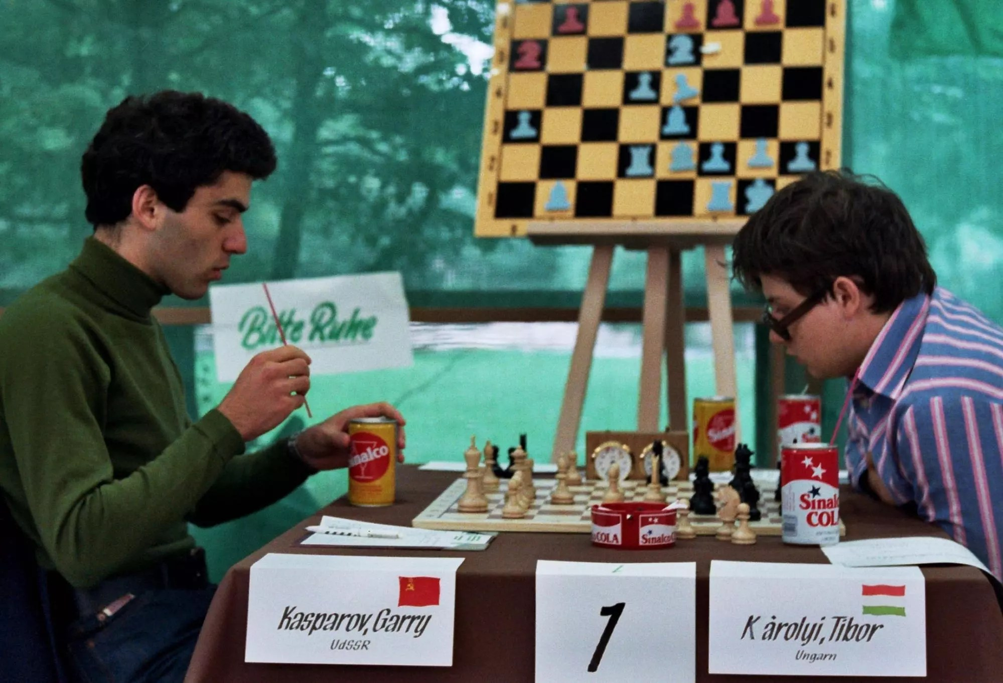 From left, Garry Kasparov with Tibor Karolyi, at the Junior Chess World Championship 1980 in  Dortmund [Credit: Gerhard Hund]