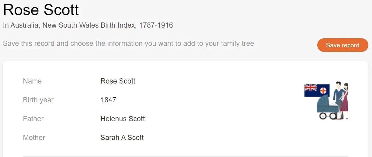 Birth record of Rose Scott [MyHeritage Australia, New South Wales Birth Index, 1787–1916]