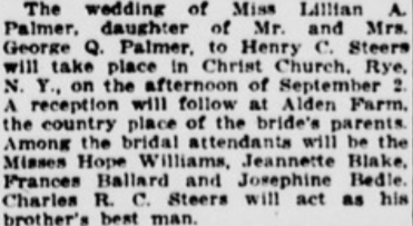 Marriage announcement of Lillian and Henry, The Sun, 1916