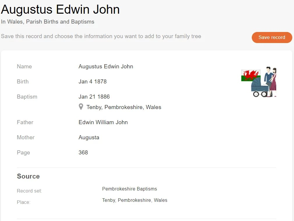 Baptism record of Augustus Edwin John, 1886. [Credit: MyHeritage Wales, Parish Births and Baptisms]
