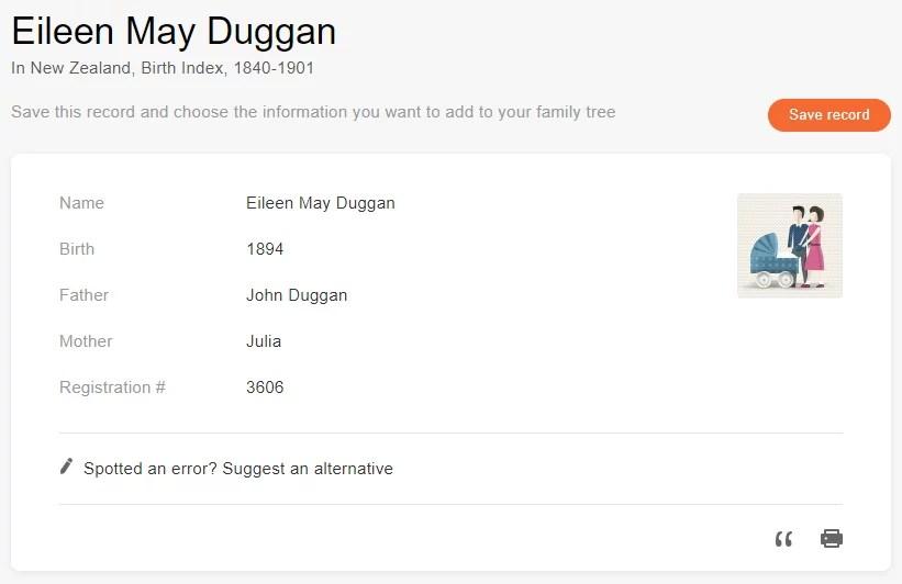Birth record of Eileen Duggan [Credit: MyHeritage New Zealand, Birth Index, 1840-1901]