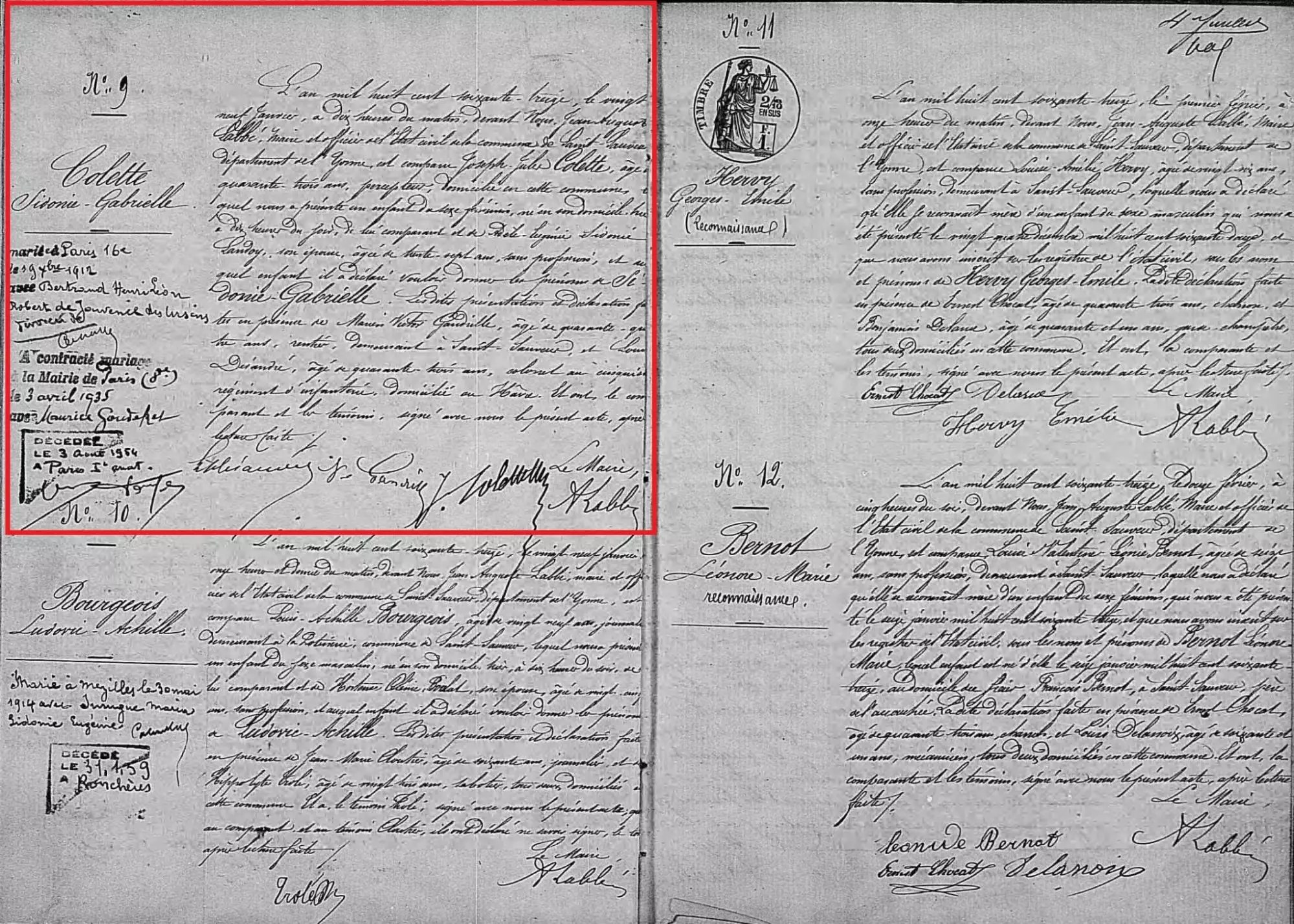 Birth record of Colette [Credit: MyHeritage France, Church Baptisms and Civil Births]