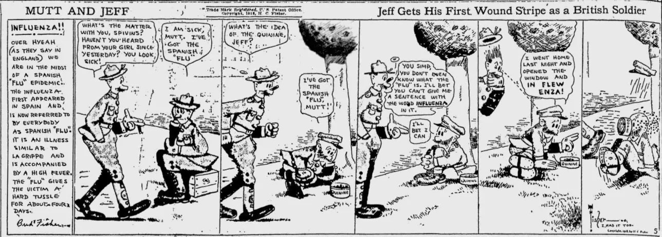 Spokane Chronicle, August 27, 1918, cartoon by Bud Fisher