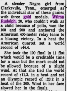 Article about Wilma's Olympic achievements in the Free Lance-star, September 9, 1960, from MyHeritage's Virginia Newspapers collection