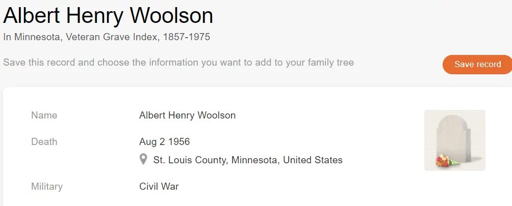 Historical Records:Grave record of veteran Albert Henry Woolson [Credit: MyHeritage Minnesota, Veteran Grave Index, 1857–1975]