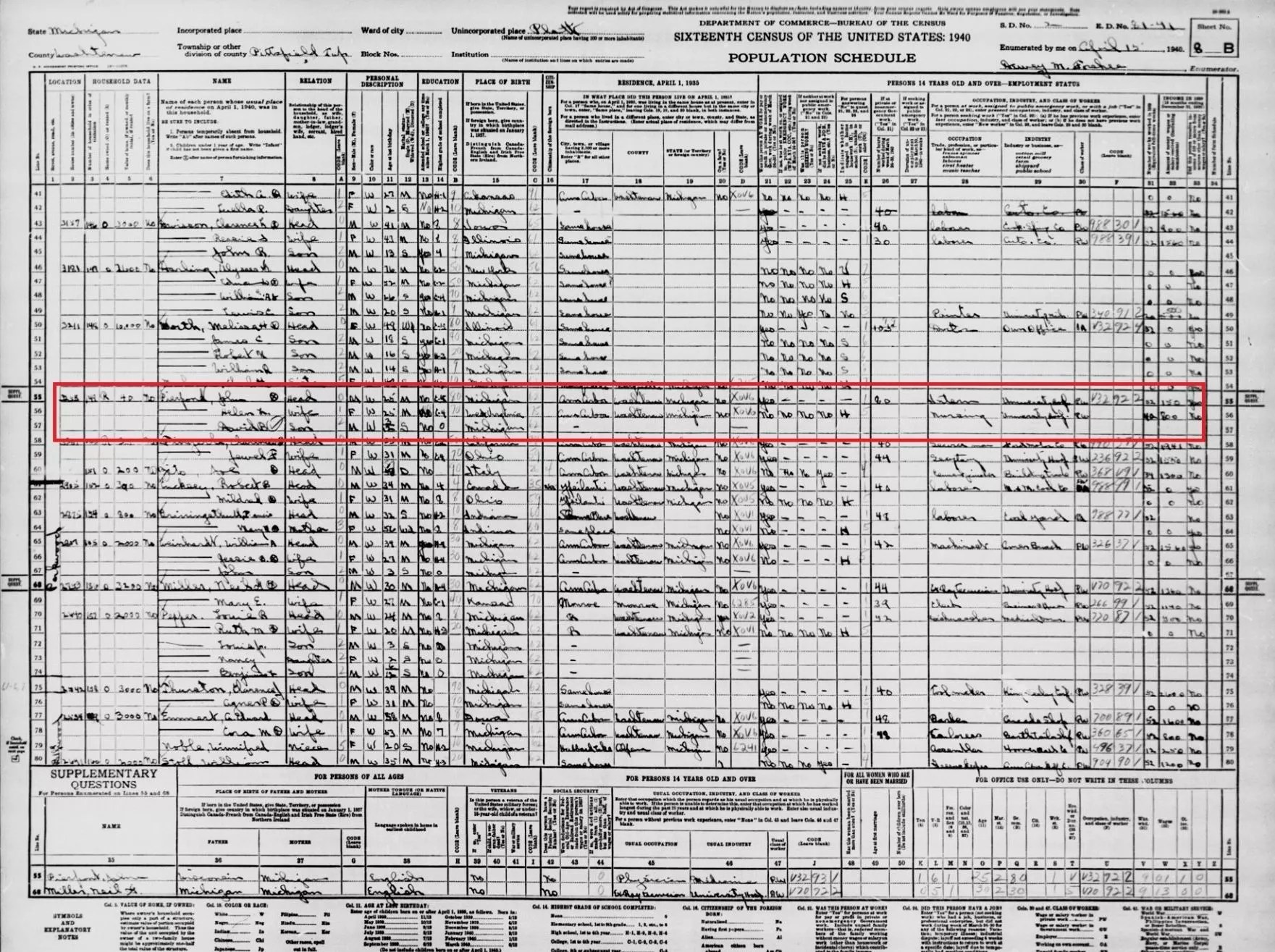 1940 Census Record of Dr. John Pierpont