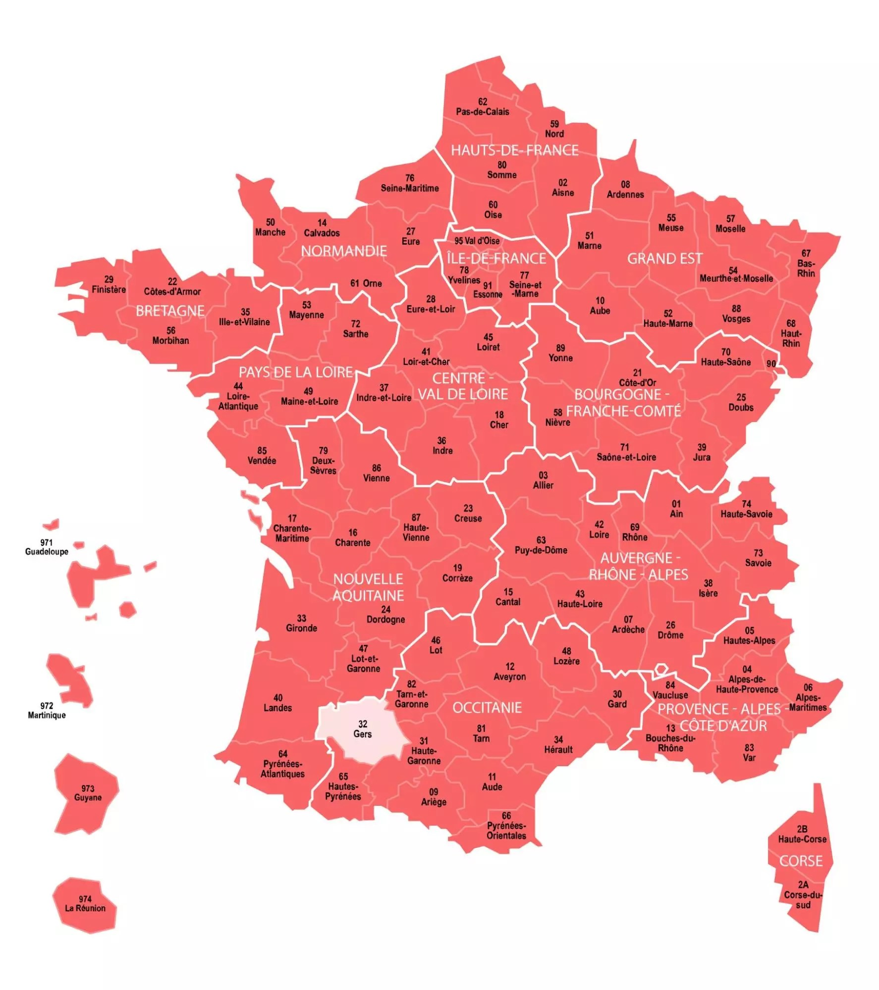 The departments in dark pink show the geographic coverage of civil birth, marriage, and death records in the MyHeritage French collections