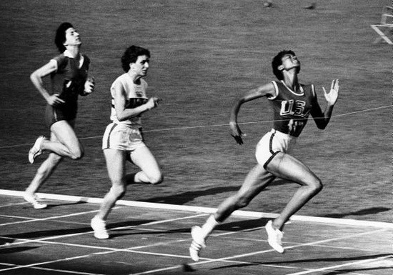 Wilma Rudolph wins the women's 100-meter dash at the 1960 Rome Summer Olympics