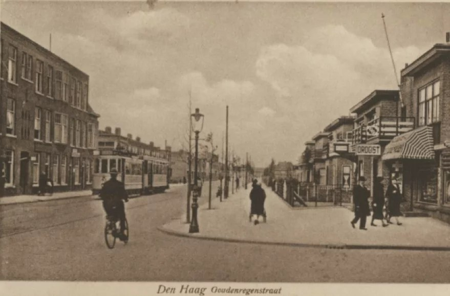 The Goudenregenstraat in The Hague at the time that Veltman's grandmother lived here. Perhaps she regularly visited the pharmacy that appears in the photo (on the right) or rode the tram (on the left).