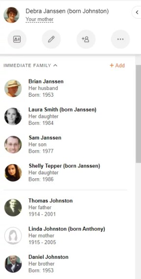 List of immediate family members on the side panel