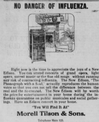 Spanish Flu Retail: The Evening Start, October 9, 1918