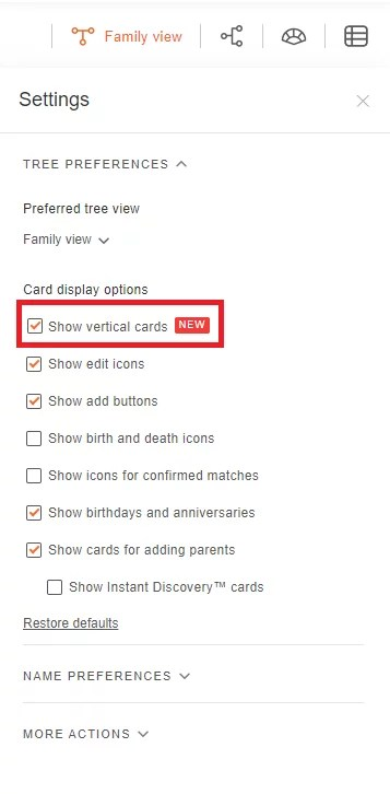 """Tree settings, including the new: """"Show vertical cards"""" option"""