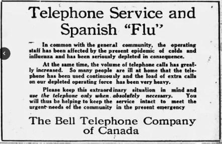 Spanish Flu Retail: The Ottawa Citizen, on October 15, 1918
