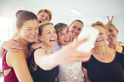 Group of women taking a selfie after a fitness calss