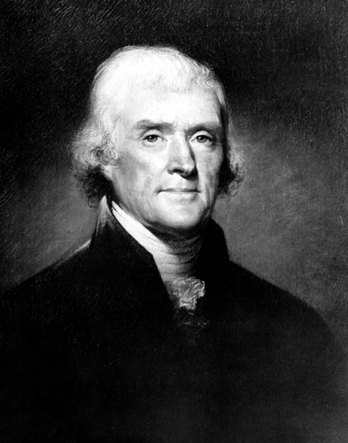 Portrait of Thomas Jefferson in black and white