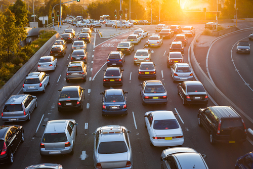 Cars stuck in rush hour traffic in the morning