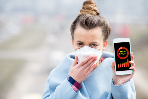 Woman with pollution mask holding phone