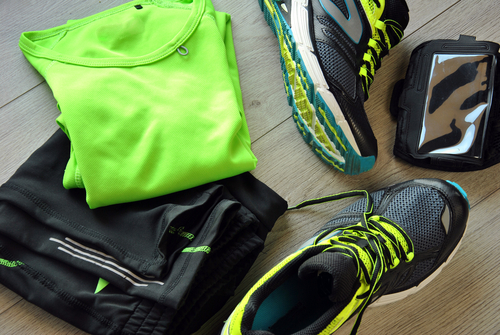 Sports clothes laid out on floor