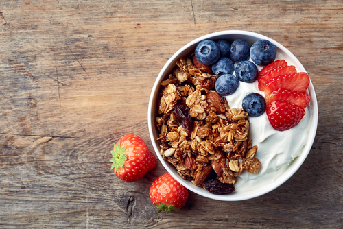 Healthy yogurt and fruit for energy