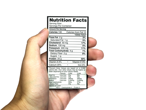 Hand holding calories + nutrition label