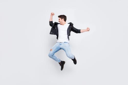 Energetic man jumping