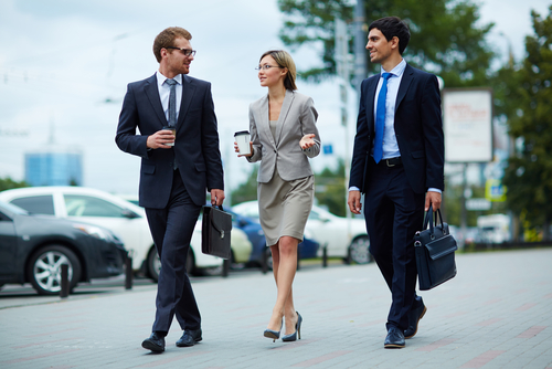 office workers walking to lunch