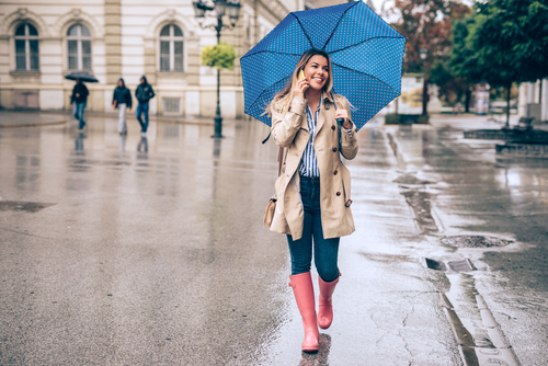 Woman walking in rain with umbrella