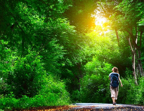 Woman walking alone in nature