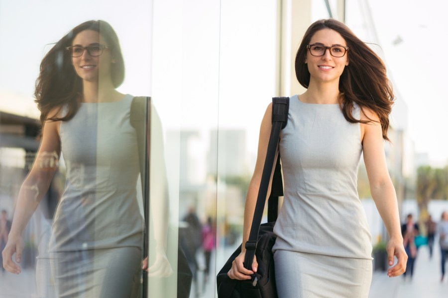 Woman walking confidently with good posture