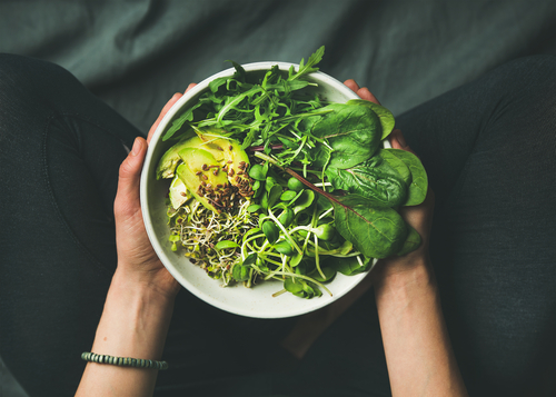 Vegan green salad bowl