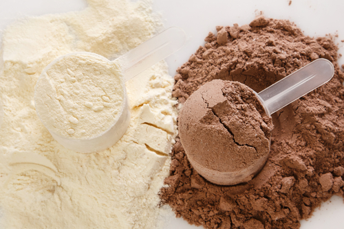 Vanilla and chocolate protein powder