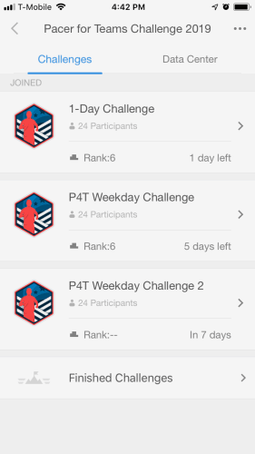 Pacer for Teams app challenge interface
