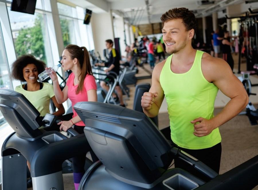 Man walking on treadmill at the gym