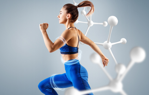 Woman running metabolism concept
